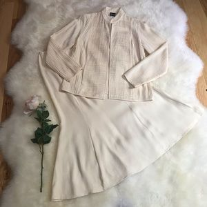 NWT Eileen Fisher Creme Silk Georgette Skirt Set